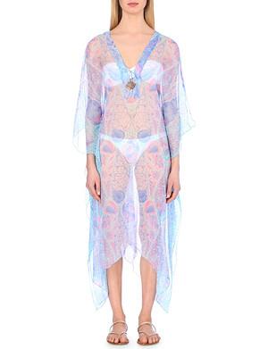 LOTTY B Shell-print silk-chiffon kaftan