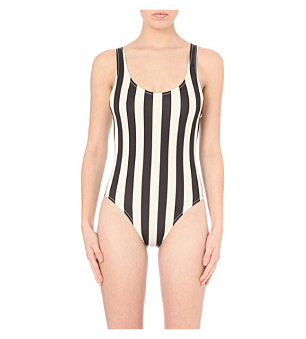 SOLID & STRIPED Marie striped swimsuit (Black/cream+bold