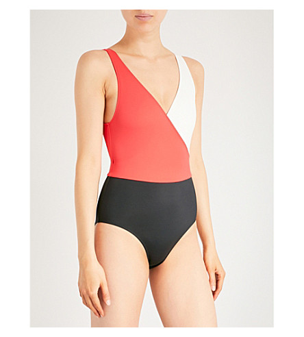 SOLID & STRIPED The Ballerina swimsuit (Red cream black