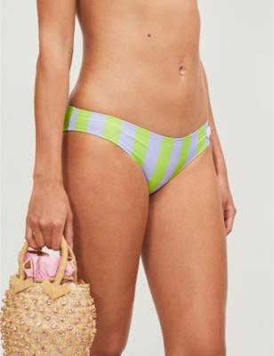 The Elle striped low-rise bikini bottoms