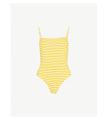 SOLID & STRIPED The Chelsea swimsuit (Mustard+stripe+rib