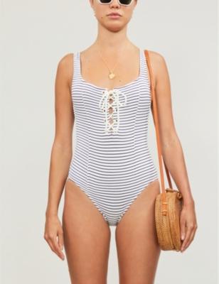 Sophia tied-front striped swimsuit
