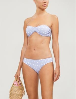 Sasha buckle-trimmed polka-dot bikini top