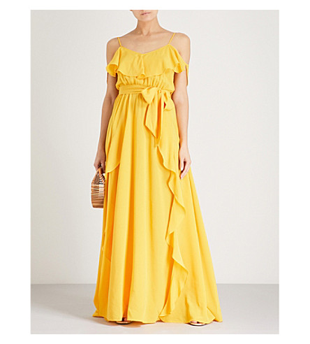 LAZUL Aida silk-crepe maxi dress (Yellow