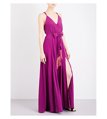 LAZUL Heather silk-crepe maxi dress (Aubergine