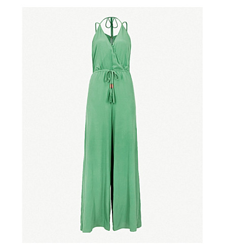 LAZUL Rania silk-crepe jumpsuit (Palatina green