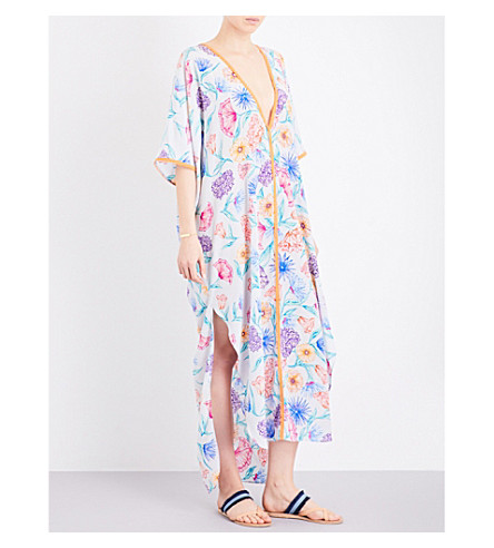 LAZUL Salinas silk-crepe kaftan (Floral+print