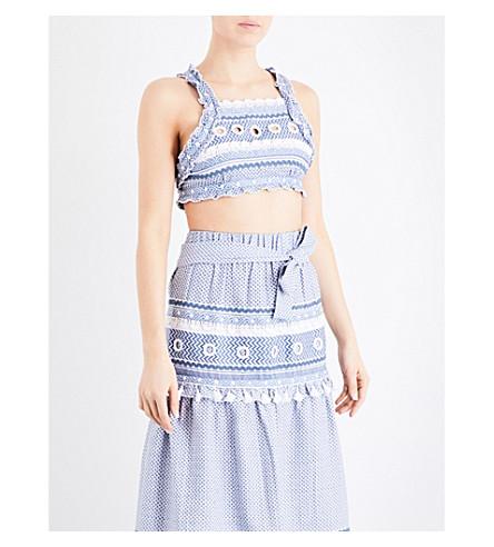 DODO BAR OR Yoav embellished cotton-jacquard cropped top (Blue/white