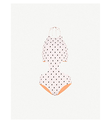 MARYSIA Mott halterneck swimsuit (Pink+black+terracotta