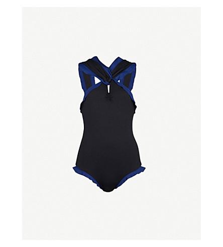MARYSIA Oxford Maillot ruffled swimsuit (Black+mirtillo