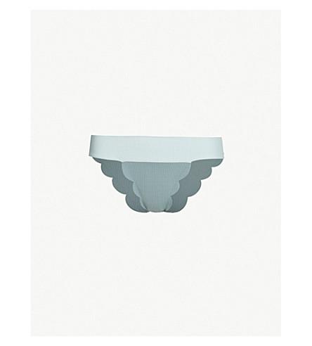 MARYSIA Santa Clara scalloped mid-rise bikini bottoms (Pool smoke blue