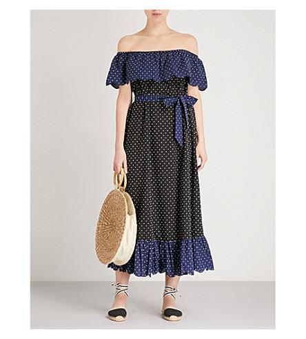 MARYSIA Off-the-shoulder cotton dress (Mirtillo+black+dot