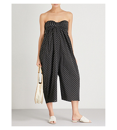 MARYSIA Polka-dot cotton jumpsuit (Black+white+dot