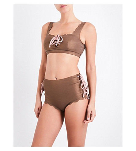 MARYSIA Palm Springs lace-up metallic bikini top (Metallic+brown