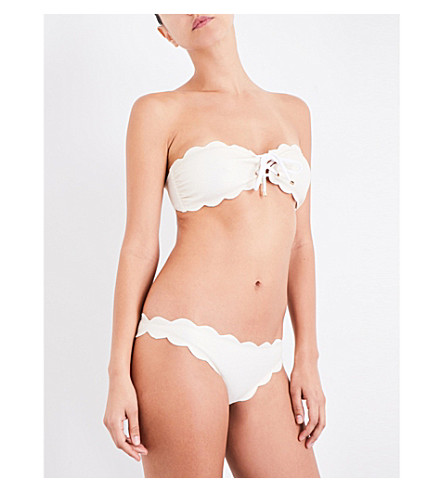 MARYSIA Antibes scalloped lace-up bikini top (Metallic+cream