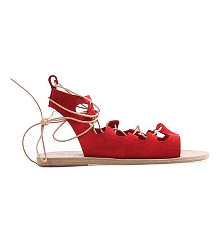ANCIENT GREEK SANDALS Antigone suede flat sandals (Crosta red
