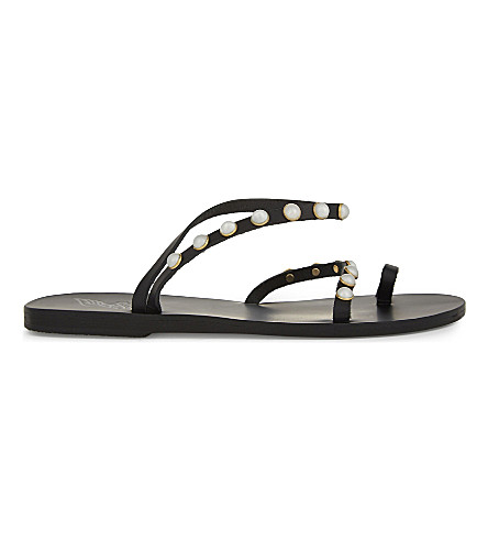 ANCIENT GREEK SANDALS Apli Eleftheria pearls leather sandals (Black