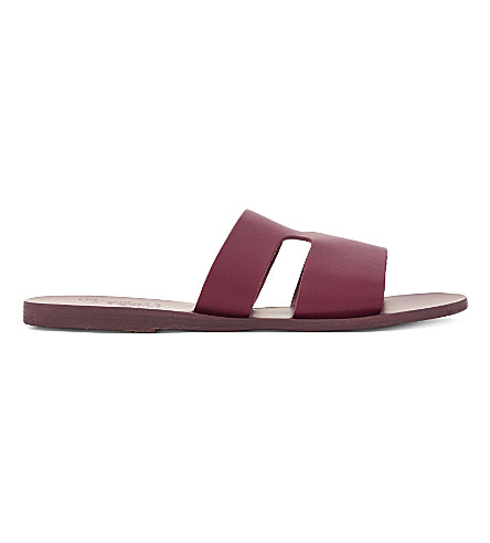 ANCIENT GREEK SANDALS Apteros leather sandals (Raspberry