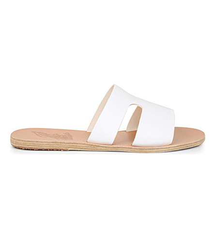 ANCIENT GREEK SANDALS Apteros leather sandals (White