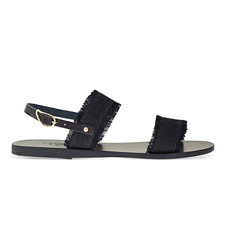 ANCIENT GREEK SANDALS Clio leather sandals (Dark+denim