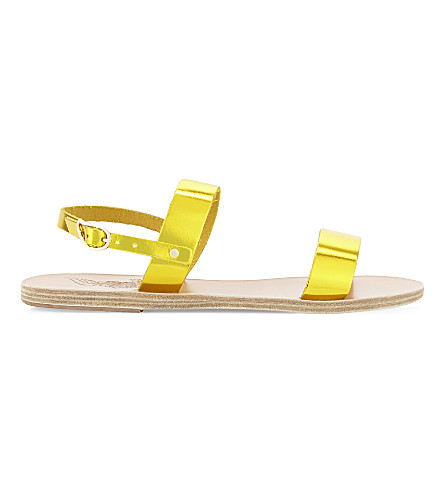 ANCIENT GREEK SANDALS Clio leather sandals (Yellow metal