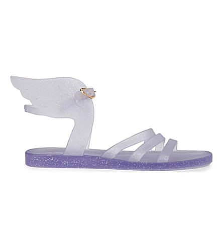 ANCIENT GREEK SANDALS Ikaria wing jelly sandals (Clear silver glitter