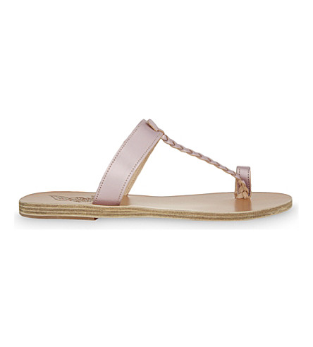 ANCIENT GREEK SANDALS Melpomeni leather sandals (Rose metal