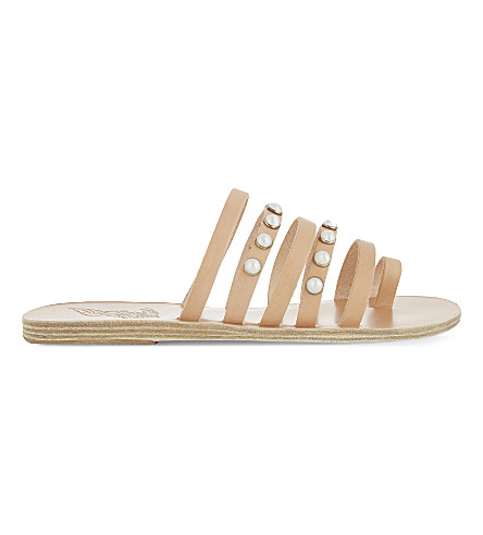 ANCIENT GREEK SANDALS Niki Pearls leather sandals (Natural