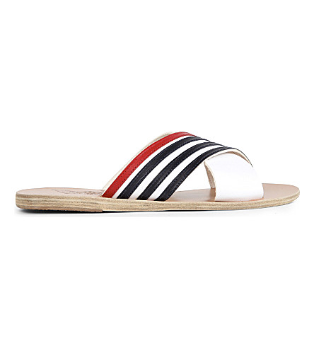 ANCIENT GREEK SANDALS Thais striped leather slider sandals (Nautical stripes