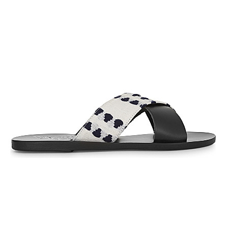 ANCIENT GREEK SANDALS Thais leather slider sandals (Black/diamonds