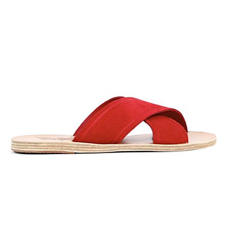 ANCIENT GREEK SANDALS Thais leather slider sandals (Crosta+red