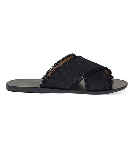 ANCIENT GREEK SANDALS Thais leather slider sandals (Dark+denim