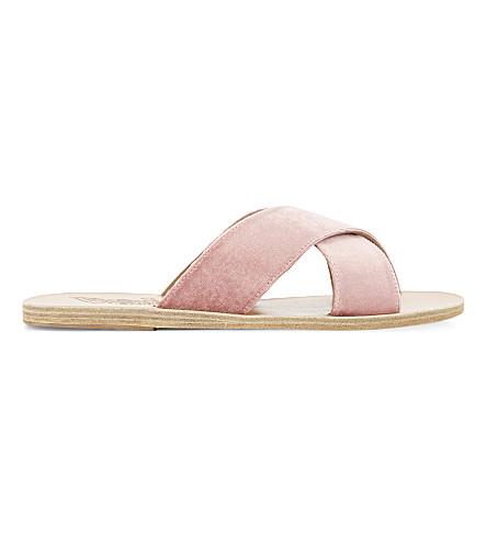 ANCIENT GREEK SANDALS Thais leather slider sandals (Velvet dusty pink