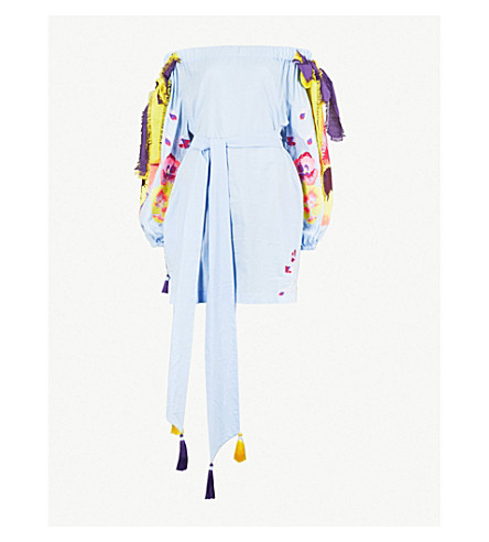 YULIYA MAGDYCH Pansies off-the-shoulder cotton and silk-blend dress (Blue