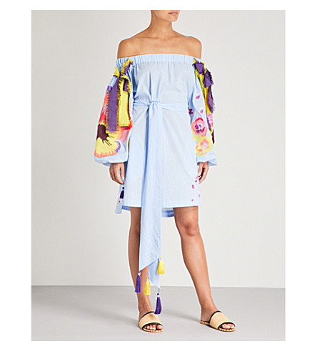YULIYA MAGDYCH 紫罗兰的肩膀棉和丝绸混纺礼服 (蓝色
