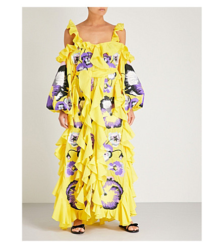 YULIYA MAGDYCH Pansies cotton and silk-blend dress (Yellow/purple