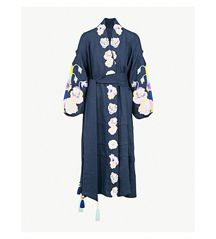 YULIYA MAGDYCH Pansies off-the-shoulder cotton and silk-blend dress (Dark blue