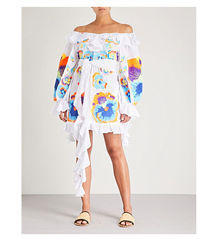 YULIYA MAGDYCH Pansies off-the-shoulder cotton and silk-blend dress (White