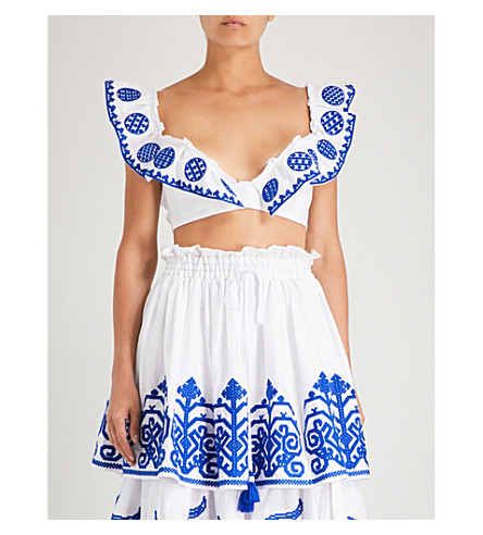 YULIYA MAGDYCH Queen Of The Sun linen cropped top (White blue