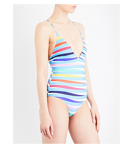 EMMA PAKE Antonia striped swimsuit (Rainbow+stripe