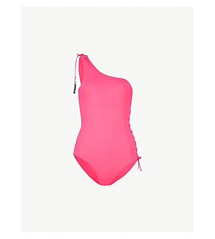 EMMA PAKE Bianca asymmetric swimsuit (Shocking+pink