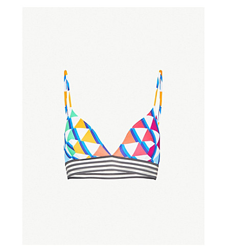 EMMA PAKE Ines V-neck bikini top (Rainbow+pyramid