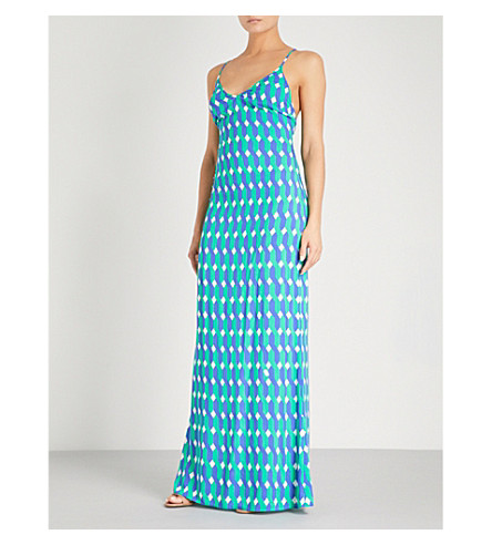 EMMA PAKE Emilia geometric-patterned woven maxi dress (Deco+wave