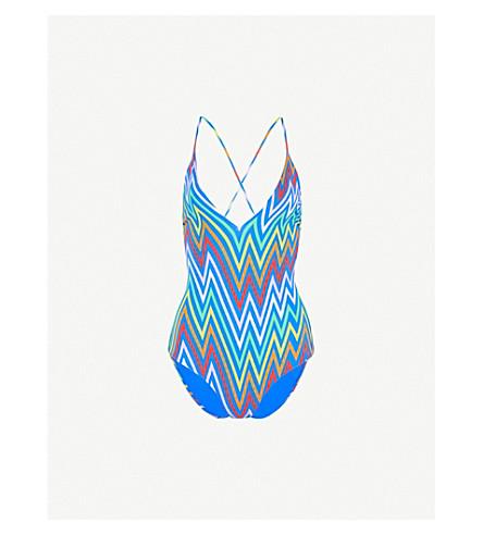 EMMA PAKE Antonia lace-up stretch swimsuit (Electric+rainbow