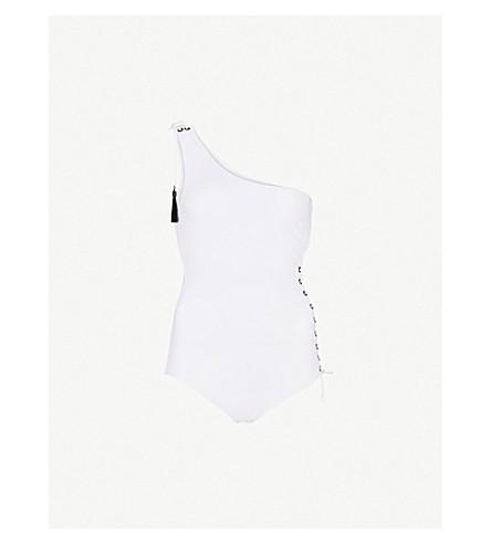EMMA PAKE Bianca asymmetric swimsuit (White