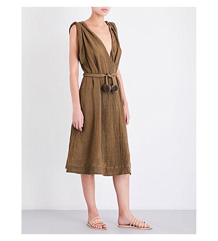 THREE GRACES LONDON Isoletta linen-blend midi dress (Olive