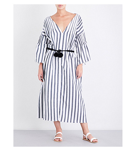 THREE GRACES LONDON Elvira linen and cotton-blend midi dress (Saunton+stripe