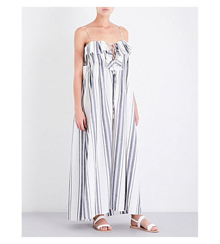 THREE GRACES LONDON Mirinda linen and cotton-blend maxi dress (Nefyn+stripe