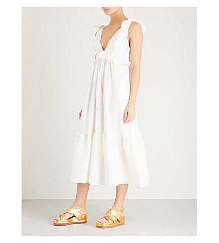 THREE GRACES LONDON Lydia ruffled linen midi dress (White+linen