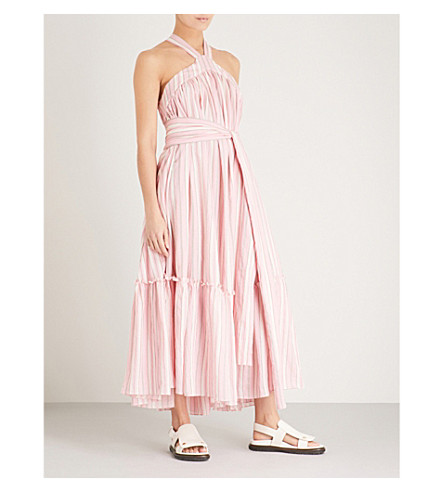 THREE GRACES LONDON Seton halterneck cotton maxi dress (Lunan+stripe